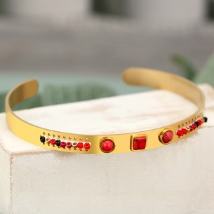 Bijoux bracelet jonc REGANIS Menthe À l'O fin  acier inoxydable doré turquoise perles Bijoux Sauvages