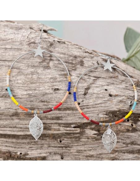 Bijoux boucle d'oreille Menthe À l'O FLANDRE créole pendante acier inoxydable argent perles Bijoux Sauvages