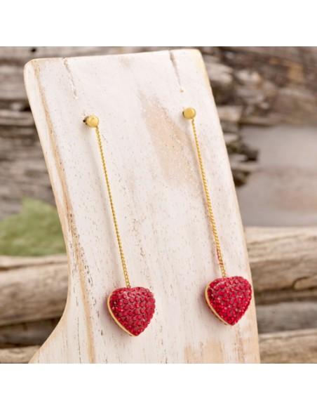 Bijoux boucle d'oreille Menthe À l'O RED LOVE pendante coeur acier inoxydable doré cristal Bijoux Sauvages