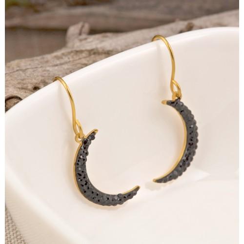 Bijoux boucle d'oreille Menthe À l'O BLACK MOON pendante courte acier inoxydable doré cristal Bijoux Sauvages