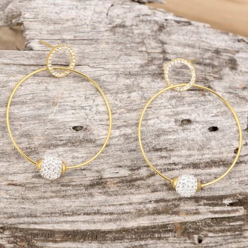 Bijoux boucle d'oreille Menthe À l'O KALYCE créole acier inoxydable argent doré cristal Bijoux Sauvages