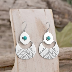 Bijoux boucle d'oreille Menthe À l'O ARKA pendante courte acier inoxydable argent turquoise Bijoux Sauvages