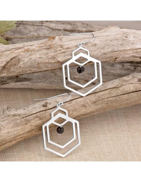 Bijoux boucle d'oreille Menthe À l'O KAILANO courte acier inoxydable doré argent cristal Bijoux Sauvages