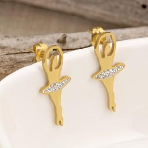 Bijoux boucle d'oreille danseuse Menthe À l'O OPERA courte acier inoxydable doré argent cristal Bijoux Sauvages