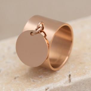 Bijoux bague pendentif médaille à graver YAEL Menthe À l'O fin  acier inoxydable rosé Bijoux Sauvages
