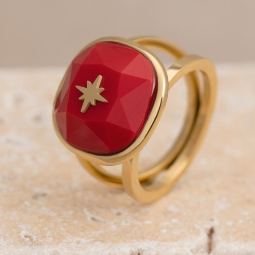 Bijoux bague chevalière étoile POLARIS Menthe À l'O fin  acier inoxydable doré cristal Bijoux Sauvages