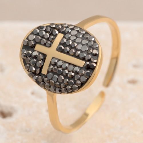CRUCIFY Hematite Gold minimalist ring...