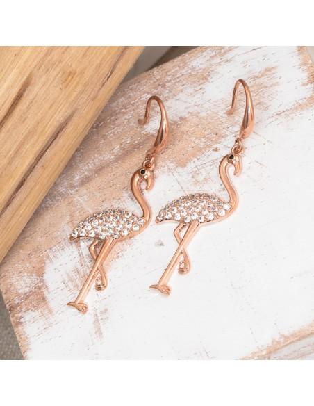 Bijoux boucle d'oreille Menthe À l'O PINK FLAMENT pendante acier inoxydable Bijoux Sauvages rosé cristal