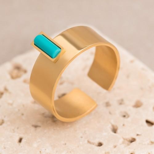 Bijoux bague réglable et ajustable GLEEN  Menthe À l'O fin  acier inoxydable doré turquoise Bijoux Sauvages