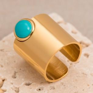 Bijoux bague tube VEGA Menthe À l'O fin acier inoxydable doré turquoise Bijoux Sauvages