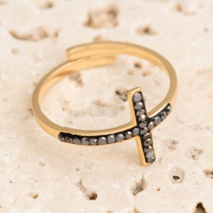 Bijoux bague croix CROSSROAD Menthe À l'O fin  acier inoxydable doré cristal Bijoux Sauvages