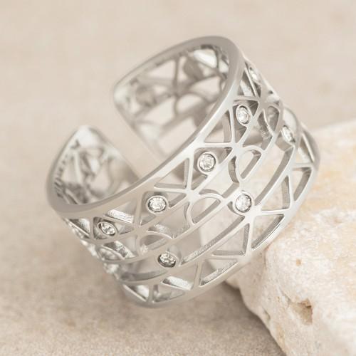 Bijoux bague JORDANIA Menthe À l'O fin  acier inoxydable argent cristal Bijoux Sauvages
