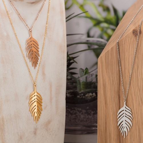 LEAF Pink Gold Silver collier court...