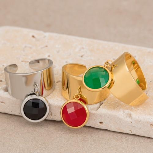 Bijoux bague pendentif médaille CAPRICE  Menthe À l'O fin  acier inoxydable doré argent cristal Bijoux Sauvages