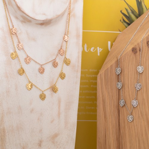 JULIA Pink Gold Silver collier court...