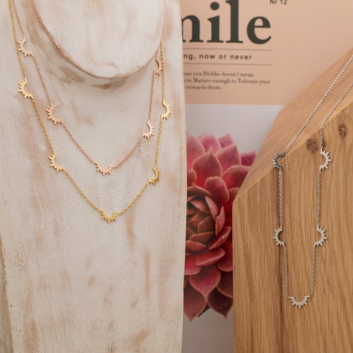 MIDSUN Pink Gold Silver collier court...
