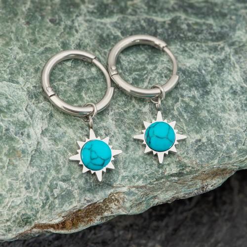 Bijoux boucle d'oreille Menthe À l'O MUNDO mini créole pendante courte acier inoxydable argent turquoise Bijoux Sauvages