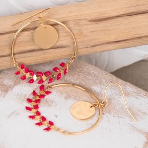 Bijoux boucle d'oreille Menthe À l'O créole acier inoxydable NOGUELA Bijoux Sauvages doré multicolore rouge