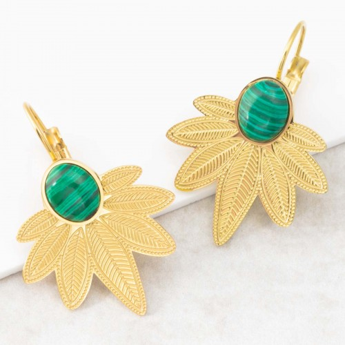 Bijoux boucle d'oreille Menthe À l'O NATULIS Green Gold dormeuses acier inoxydable feuille doré malachite verte Bijoux Sauvages