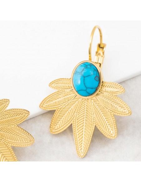 Bijoux boucle d'oreille Menthe À l'O NATULIS Turquoise Gold dormeuses acier inoxydable feuille doré Bijoux Sauvages