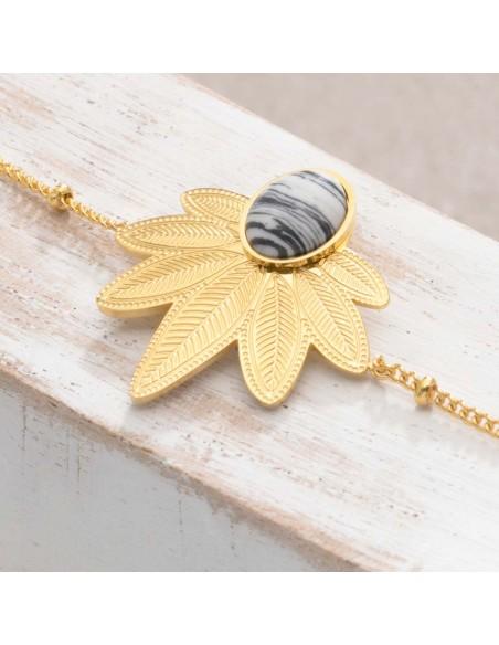 Bijoux bracelet fin NATULIS Black & White Gold Menthe À l'O acier inoxydable doré pierre de jaspe noire et blanc Bijoux Sauvages