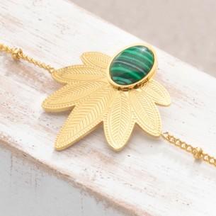 Bijoux bracelet fin NATULIS Green Gold Menthe À l'O acier inoxydable feuille doré pierre de malachite verte Bijoux Sauvages