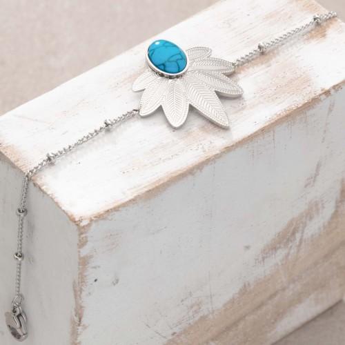 Bijoux bracelet fin NATULIS Turquoise Silver Menthe À l'O acier inoxydable feuille argent Bijoux Sauvages