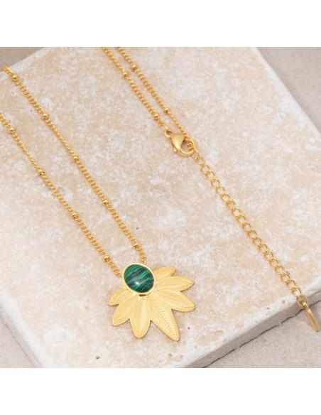 Bijoux collier fin court NATULIS Green Gold Menthe À l'O acier inoxydable feuille doré pierre de malachite verte Bijoux Sauvages