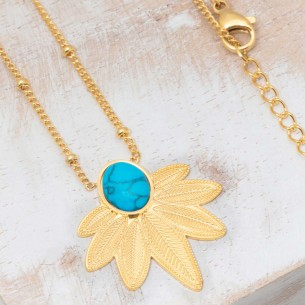 Bijoux collier fin court NATULIS Turquoise Gold Menthe À l'O acier inoxydable feuille doré Bijoux Sauvages