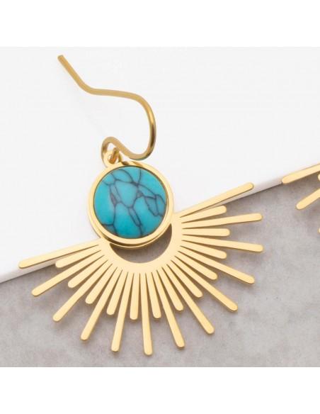 Bijoux boucle d'oreille Menthe À l'O EKIS Turquoise Gold pendantes acier inoxydable solaire doré Bijoux Sauvages