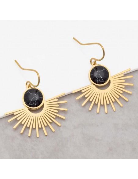 Bijoux boucle d'oreille Menthe À l'O EKIS Black Gold pendantes acier inoxydable solaire doré noir Bijoux Sauvages