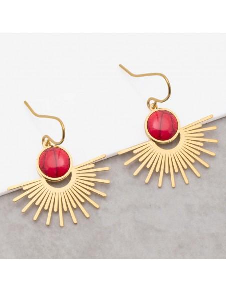 Bijoux boucle d'oreille Menthe À l'O EKIS Coral Gold pendantes acier inoxydable solaire doré jaspe rouge corail Bijoux Sauvages