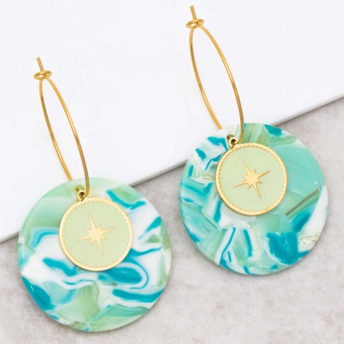 Bijoux boucle d'oreille Menthe À l'O SIGNOS Aqua Gold créoles acier inoxydable symbole étoile doré vert d'eau Bijoux Sauvages