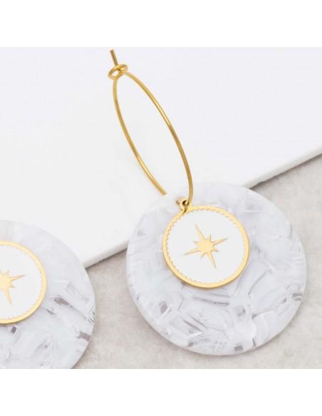 Bijoux boucle d'oreille Menthe À l'O SIGNOS White Gold créoles acier inoxydable symbole étoile doré blanc Bijoux Sauvages