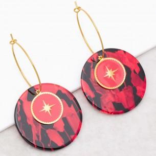 Bijoux boucle d'oreille Menthe À l'O SIGNOS Red Gold créoles acier inoxydable symbole étoile doré rouge noir Bijoux Sauvages