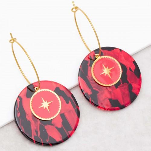 SIGNOS Red Gold hoop earrings golden...