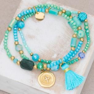 Bijoux bracelet fin OFELIE Aqua Gold Menthe À l'O acier doré plusieurs rangées perles turquoise Bijoux Sauvages