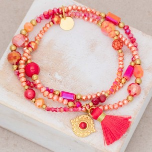 Bijoux bracelet fin OFELIE Coral Gold Menthe À l'O acier doré plusieurs rangées perles rouge Bijoux Sauvages