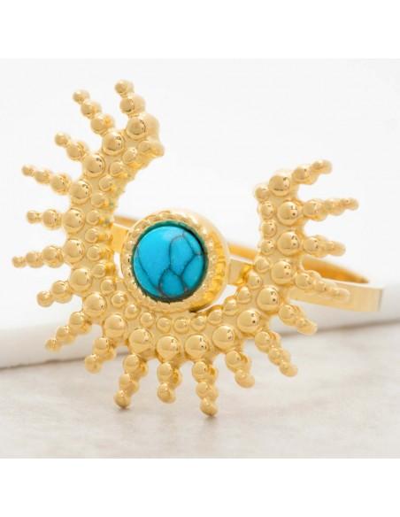 Bijoux bague SUNSTICE Turquoise Gold Menthe À l'O réglable cabochon acier inoxydable soleil doré Bijoux Sauvages