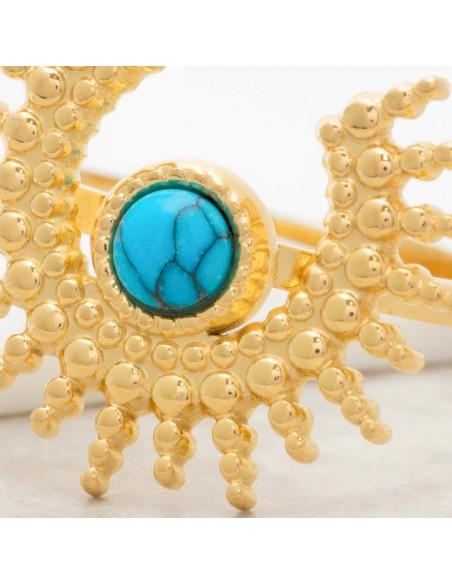 Bijoux bague SUNSTICE Turquoise Gold Menthe À l'O cabochon réglable acier inoxydable soleil doré Bijoux Sauvages