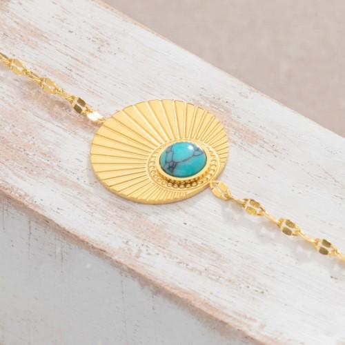 Bijoux bracelet fin MOARA Turquoise Gold Menthe À l'O acier inoxydable doré solaire Bijoux Sauvages