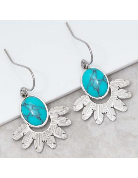 Bijoux boucle d'oreille Menthe À l'O PANAMA Turquoise Silver pendantes acier inoxydable plumes argent Bijoux Sauvages