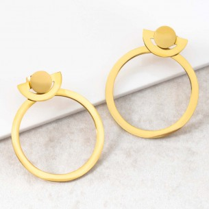 ONDORE Gold dangling hoop...