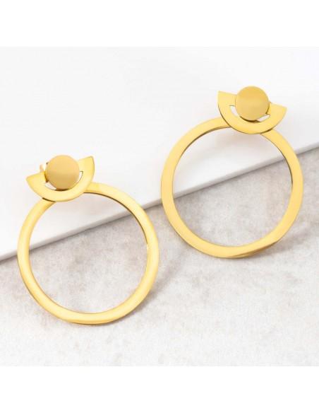 Bijoux boucle d'oreille Menthe À l'O ONDORE Gold créoles pendantes acier inoxydable doré Bijoux Sauvages