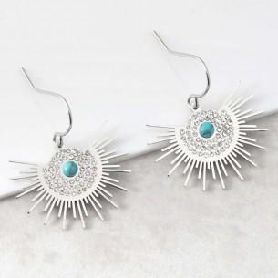 Bijoux boucle d'oreille Menthe À l'O ASOL Turquoise Silver pendantes acier inoxydable solaire cristal argent Bijoux