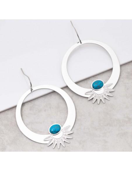 Bijoux boucle d'oreille ethnique Menthe À l'O EKISOR Turquoise Silver créoles pendantes acier inoxydable argent Bijoux Sauvages