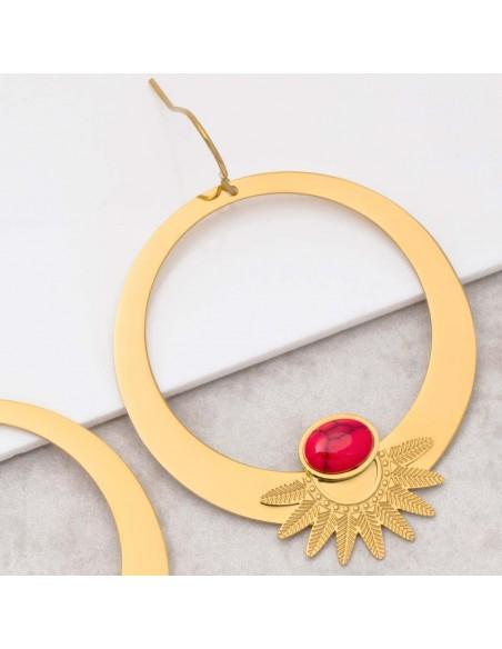 Bijoux boucle d'oreille Menthe À l'O EKISOR Coral gold créoles acier inoxydable Jaspe rouge doré Bijoux Sauvages