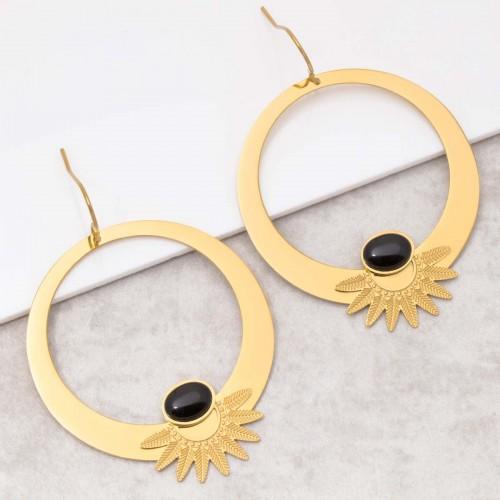 Bijoux boucle d'oreille Menthe À l'O EKISOR Black gold créoles acier inoxydable onyx noir doré Bijoux Sauvages
