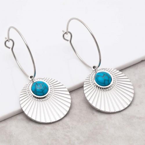 MOARA Turquoise Silver dangling hoop...