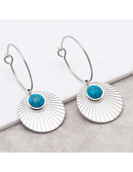 Bijoux boucle d'oreille Menthe À l'O MOARA Turquoise Silver  créoles pendantes acier inoxydable symbole solaire Bijoux Sauvages
